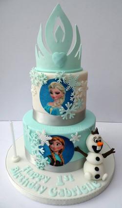 3 tier Frozen birhtday cake