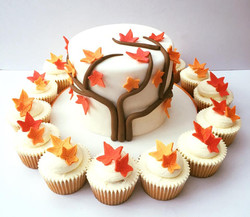 Autumn themed wedding cake and co-ordinating cupcakes.
