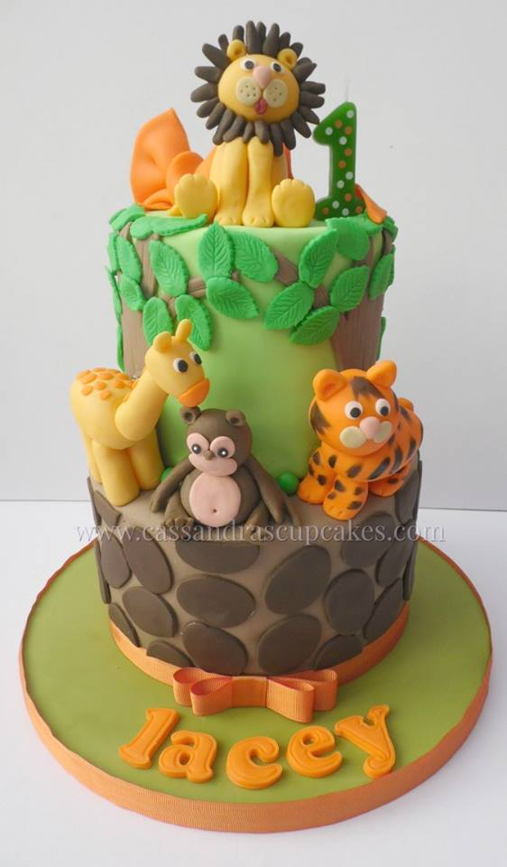Jungle 2 tier themed 1st birthday cake