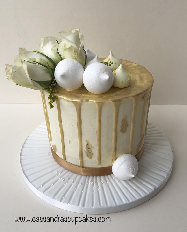 Elegant gold drip cake