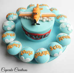 Planes themed birthday cake & cupcak