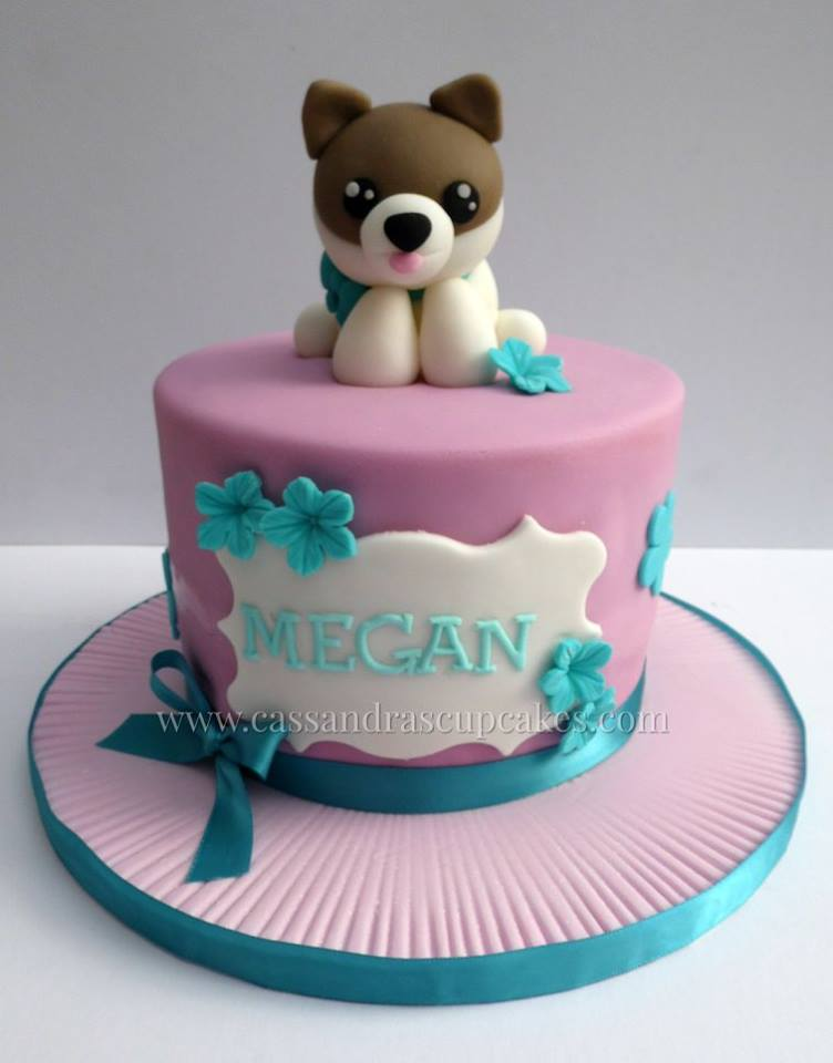 Cute Dog Themed Birthday Cake