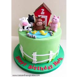 Farm themed birthday cake
