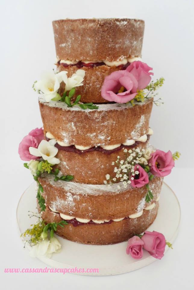 Pretty vintage themed naked wedding cake