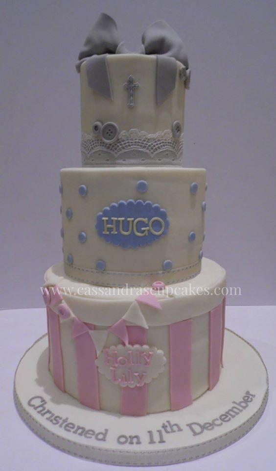 Three tier vintage styled christening cake