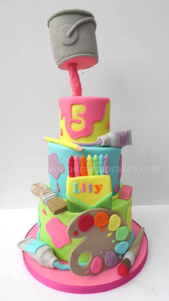 Three tier arty themed birthday cake design based on an image supplied