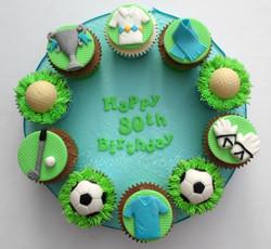 Golf & Football themed cupcake board