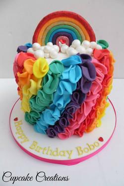 Rainbow Ruffle Birthday Cake