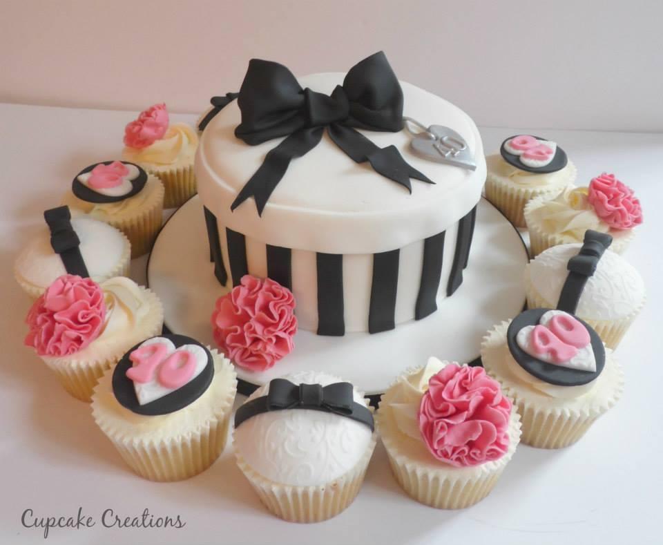 40th Birthday Cake & Cupcakes