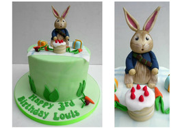 Peter Rabbit themed birthday cake