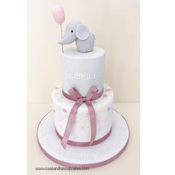 Pretty pastel christening cake