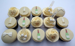 30th birthday cupcakes with shots of prosecco!