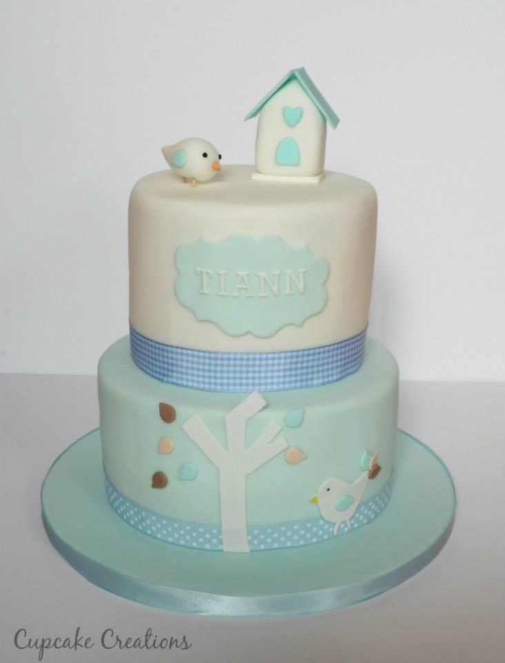 2 Tier Boys Christening Cake