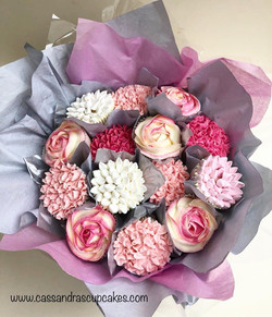 Pretty pink and cream cupcake bouquet