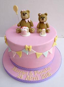 Girls Teddy themed Christening Cake