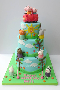 Peppa Pig three tier cake for Nell who celebrated her 2nd birthday this weekend. The design is based