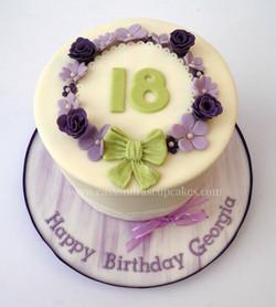 Vintage themed 18th birthday cake