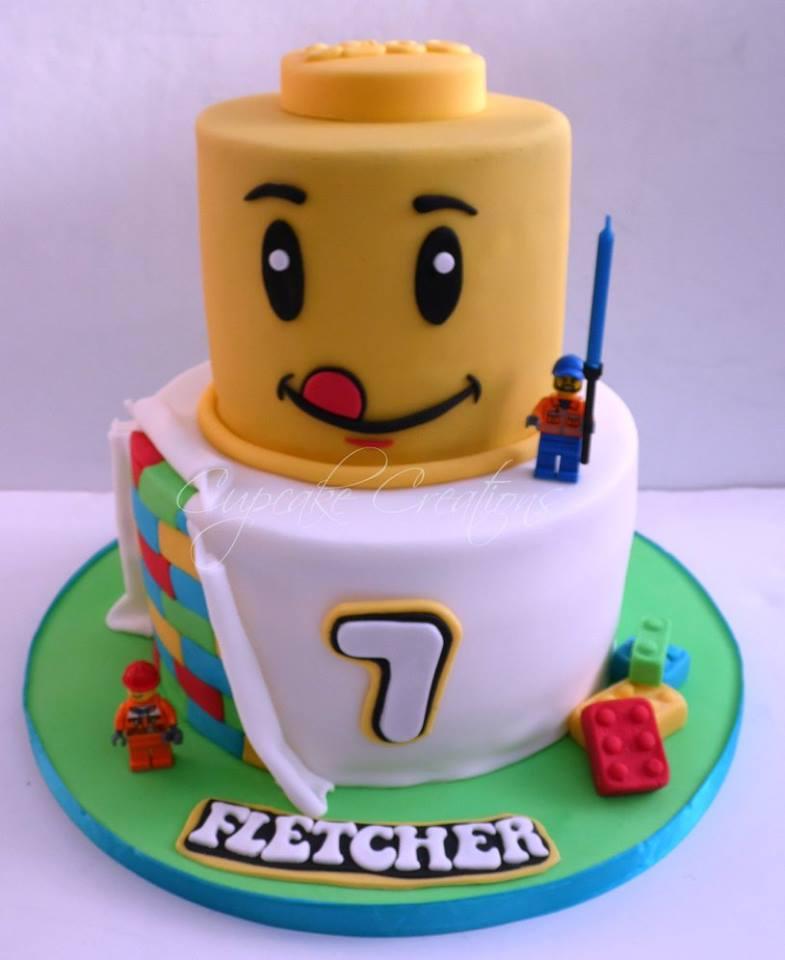 Lego themed birthday cake
