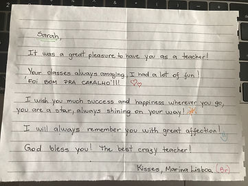 Thank you note from Marina