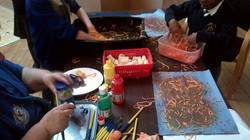 Painting with spagetti