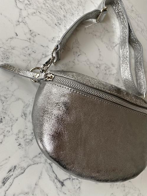 Gürteltasche gross Silber Metallic