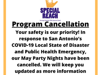 March, April, & May Party Nights Cancelled
