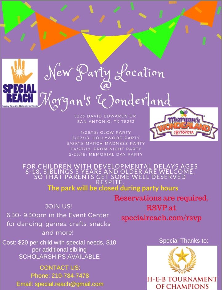 Join us for Party Nights at Morgan's Wonderland! Click for details.