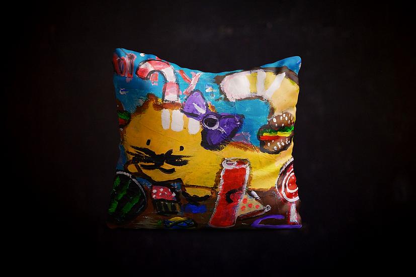 Andrea's Greedy Cat Pillow