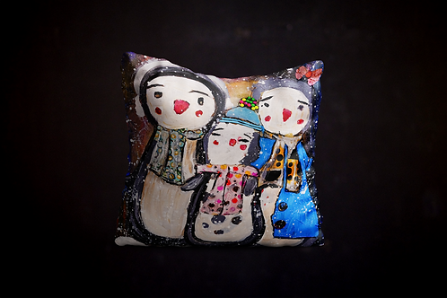 Happy's Mix Media Art Pillow