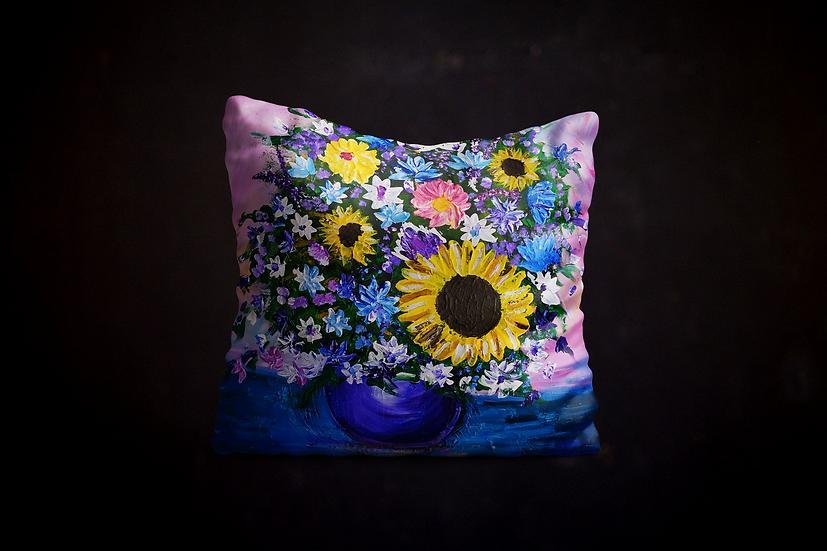 Jillian's Impressionistic Flowers Pillow