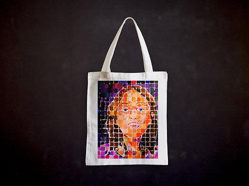 Happy's Grid-Style Self-Portrait Totebag