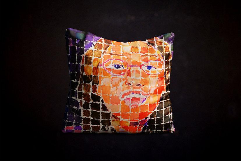 Happy's Grid-Style Self-Portrait Pillow