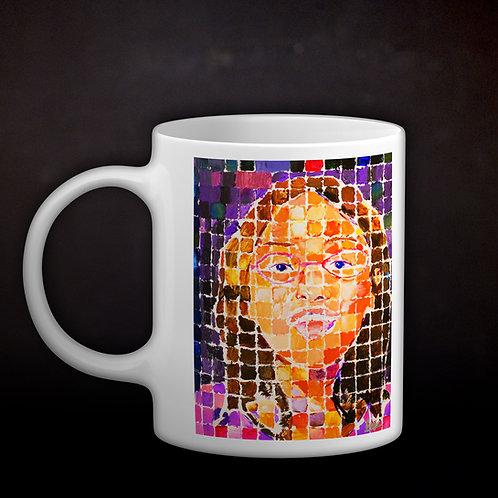 Happy's Grid-Style Self-Portrait Coffee Mug