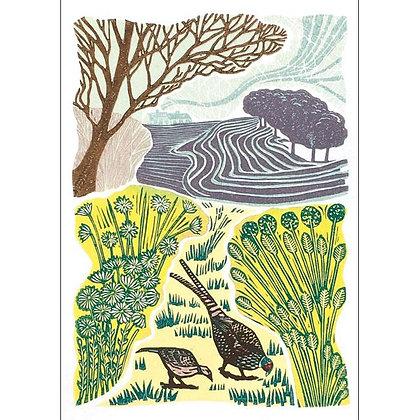 Pheasants Feasting Card