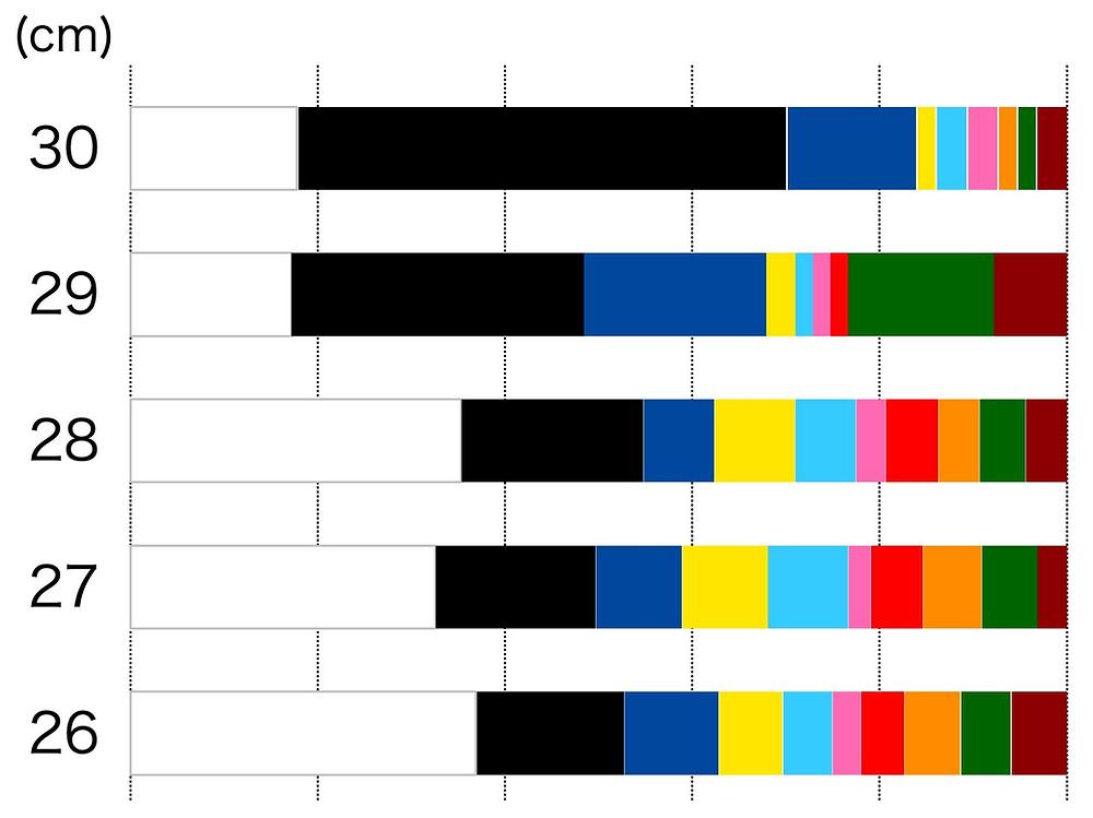 ビーチサンダルの鼻緒、26cmから30cmは白と黒が人気です。