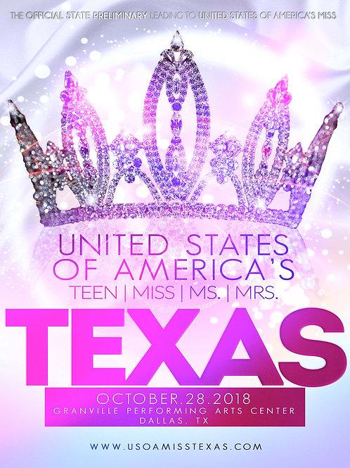 Pre-Sale USOA Texas 2020 Pageant  Program Book