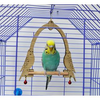 Ans Muhabbet Kuşu İçin Ahşap Zilli Salıncak 16cm