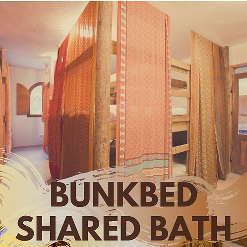 One night Bed in Bunkbed room shared bath