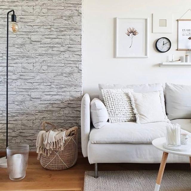 Neutral color living room art table sofa
