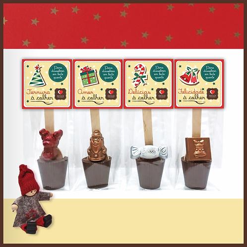 """Colher com Chocolate """"Desejos de Natal"""""""
