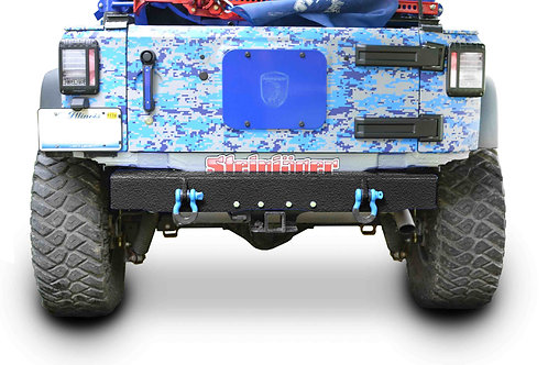 Wrangler JK 2007-2018 Bumper, Rear Cap Style with D-Ring Mounts Texturized Black