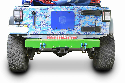 Wrangler JK 2007-2018 Bumper, Rear Cap Style with D-Ring Mounts Neon Green