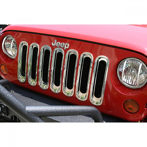 Chrome Grill Grille Inserts Kit for Jeep Wrangler JK 07-18