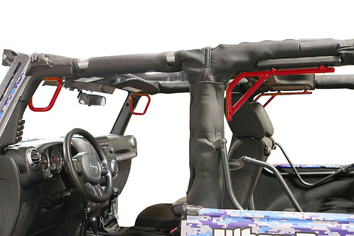 Grab Handle Kit, Front and Rear, 2 Door Only, Rigid Wire Form, Red Baron