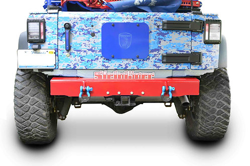 Wrangler JK 2007-2018 Bumper, Rear Cap Style with D-Ring Mounts Red Baron