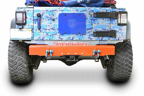 Wrangler JK Bumper, Rear Cap Style with D-Ring Mounts Fluorescent Orange