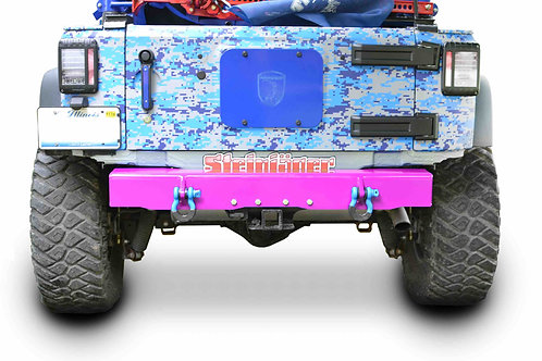 Wrangler JK 2007-2018 Bumper, Rear Cap Style with D-Ring Mounts Hot Pink