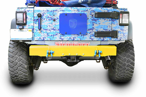 Wrangler JK 2007-2018 Bumper, Rear Cap Style with D-Ring Mounts Neon Yellow