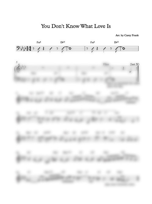 "Sheet Music to ""You Don't Know What Love is"""