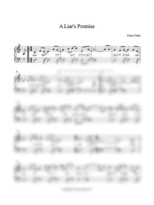 "Sheet Music to ""A Liar's Promise"""